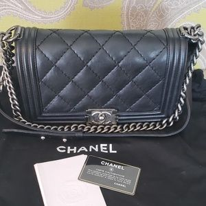 CHANEL Bags - Chanel le boy bag in calfskin leather!!!